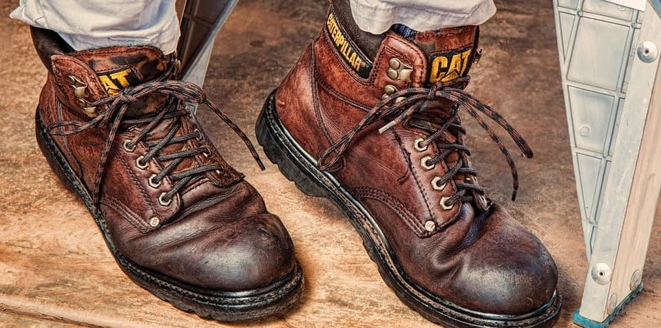 wearing safety work boots